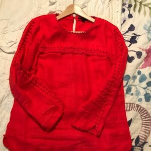 J.Crew Red Linen Blouse